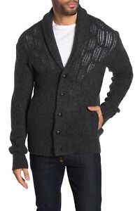 JOHN VARVATOS Houston Soft Cable Knit Charcoal Grey Cardigan RRP: £295.00