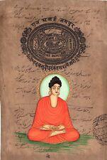 Siddharth Gautam Buddha Painting Old Stamp Paper Buddhist Buddhism Handmade Art