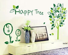 Wandtattoo Happy Tree Sticker Baum Pflanze Tattoo Blätter Laub Aufkleber bunt