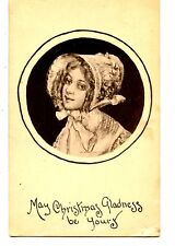 Victorian Girl-Pretty Face-Bonnet-Christmas Holiday Greeting 1909 Postcard