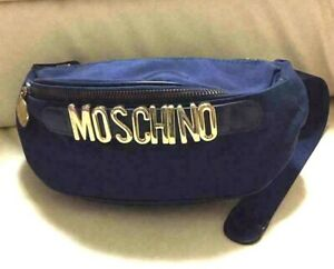 Auth MOSCHINO Vintage Nylon Canvas Waist Pouch Fanny Pack Bum Bag Navy Used