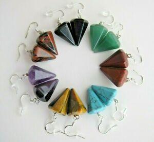 Hexagon Conical Shape, Natural Gemstone Long Drop Earrings on Silver Hook.