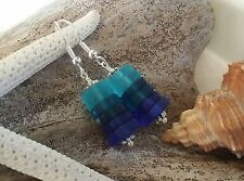 Handmade in Hawaii Three blue sea glass earrings sterling silver Beach jewelry