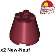 Lego - 2x Cone 3x3x2 axle hole axe red dark/dark red 6233 NEW