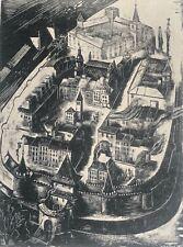 Marian PUCHALSKI (1912-1970) ancienne Varsovie Pologne Polska xylographie c 1944