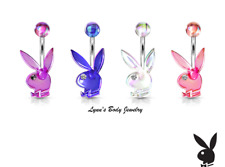 Playboy Bunny AB Effect Acrylic with Clear Gem Eye Belly Navel Ring Select Color