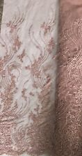Beaded Lace Fabric (Rose Colour) Sold Per Yard
