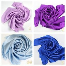 Pure Silk Satin Charmeus Fabric Lilac Lavendar Purple Light Blue Royal Blue