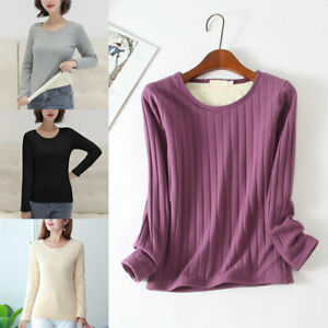 Women Warm Thermal Underwear Round Neck Fleece Lined Bottoming Shirt Thick Top