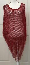 Womens Red Crochet Poncho Size XS S M Accented Fringes Boho Hippie