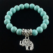 Classical Natural Blue Turquoise Stone  Bead Tibet Silver Elephant Bracelet Gift