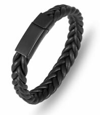 Mens Stainless Steel Braided Woven Black Leather Magnetic Bracelet + Box #B375