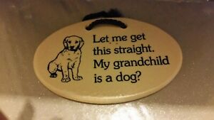 POTTERY PLAQUE. WITH SAYING. (Let me get this straight. My grandchild is a dog?)