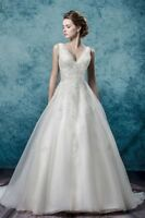 New A-Line White/Ivory Wedding Dress Bridal Gown Custom Size: 6-8-10-12-14-16-18