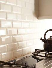 TILE SAMPLES London Bevelled Ivory Cream Gloss Metro Bathroom Tiles 10 x 20cm