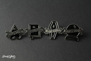 SET OF 4 PIN BADGES BLACK GOTHIC WITCHCRAFT LETS PLAY SEEK CONJURE HIDE DARK
