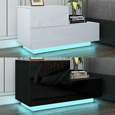 Bedside Cabinet High Gloss Front Table Nightstands 2 Drawers LED Light
