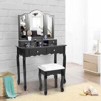 Vanity Makeup Dressing Table Set W/Stool 4 Drawers & Tri Folding Mirror Jewelry