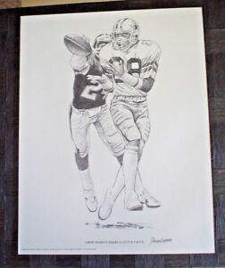 "1981 FOOTBALL PRINT DREW PEARSON SHELL OIL 11"" x 14"" ART DALLAS COWBOYS"