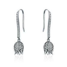 Fashion 925 Sterling Silver Women Cubic Zircon Tulip Flower Shaped Hook Earrings