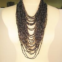 "34"" Waterfall Black Hematite Multi Strand Handmade Seed Bead Statement Necklace"