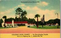 Colonial Hotel Courts U.S. Highway No. 1  Jacksonville FL Vintage Postcard PBA