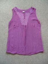 Ladies Silk Cotton Tunic Top Sleeveless Magenta Embroidery Size Small