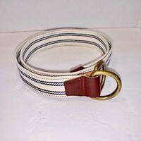 J. Crew Cotton Web Belt w/Leather Trim SZ MED