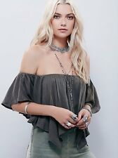 141178 NEW Free People Merpati High Low Off Shoulder Cami Crop Blouse Top XS