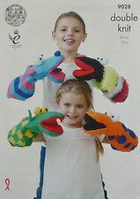 KNITTING PATTERN Childrens Dinosaur Frog Glove Puppet Soft Toys DK KingCole 9028