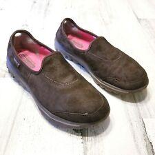 Skechers Go Walk Autumn Womens Sz 8 Brown Suede Slip On Walking Shoes Sneakers