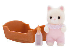 New Sylvanian Families 4177 Silk Cat Baby with Bottle & Crib - Pink Girl Gilly