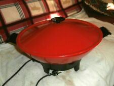 """Red  West Bend Electric 14"""" Skillet WOK Nice and Clean"""