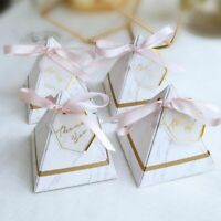 50pcs Marble European Candy Box with THANKS Card & Ribbon Wedding Party Gift Box