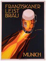 Bierre Munich by Edmond Maurus Giclee Art Print German Beer Poster 24x36