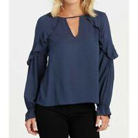 NWOT Evereve Lush Navy Blue Ruffle V Blouse Top Women's Size L Swiss Dot Rayon
