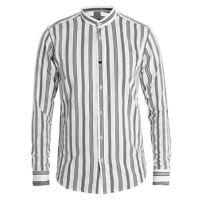 Camicia Uomo MOD Collo Coreano Righe Nere Fondo Bianco Cotone Casual GIOSAL