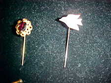 LOT (2) LAPEL STICK PINS MOTHER OF PEARL DOVE & FAUX GARNET
