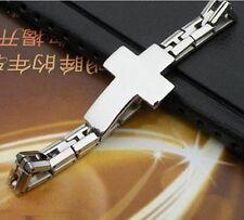 Silver/Gold Fashion Cross bracelet Stainless steel Jewelry Men's bangle 21cm