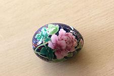 Cloisonne Cobalt Blue Pink Floral Butterfly Gilt Chinese Ceramic Porcelain Egg