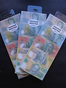 New Australian Souvenir Note Pad 50 Sheets - Imitation $ Notes 100,50,20,10,5