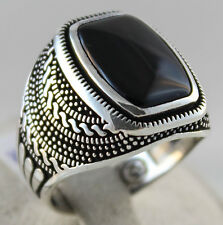 925 Sterling Silver Turkish Handmade Ottoman Onyx Men's Luxury Ring