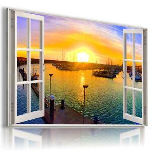 MARINA BAY SUNSET BOATS 3D Window View Canvas Wall Art W261 UNFRAMED-ROLLED