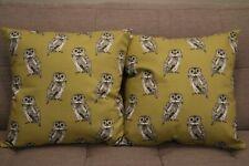 Cushion cover handmade set of 2 18''x18'' cotton&silk grey&golden owls pattern