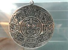 Extra Large 40 Mm Wide .925 Sterling Silver Aztec Mayan Pendant -