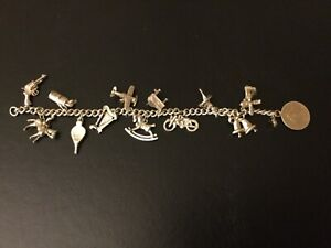 Sterling silver 925 charm bracelet with charms