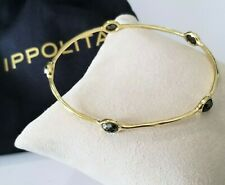 IPPOLITA 18K Gold Rock Candy 5-stone Hematite Bangle Bracelet - Stunning! $1995
