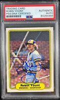 Robin Yount auto card 1982 Fleer #155 MLB Milwaukee Brewers PSA Encapsulated