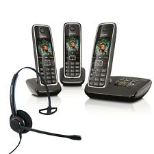 Cordless Phone Gigaset C530A 3 Handsets Answer Machine w Corded Headset