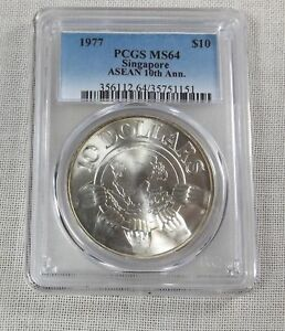 SINGAPORE SILVER 10 DOLLARS 1977, HUGE SILVER COIN, PCGS MS-64, SINGAPUR